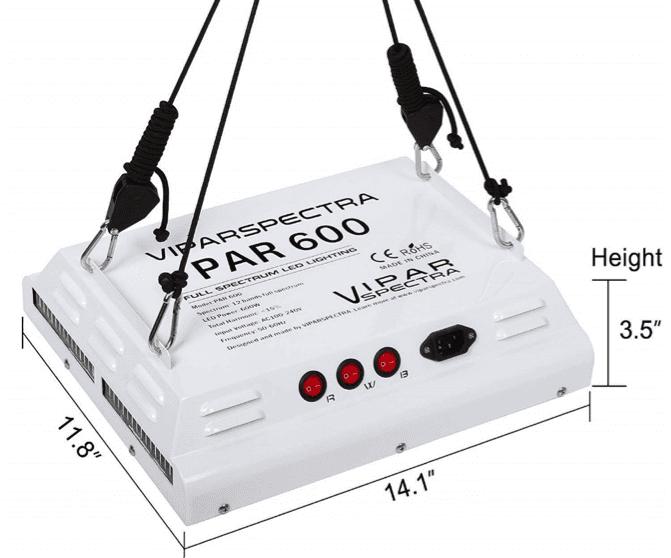 Viparspectra PAR600 Dimensions